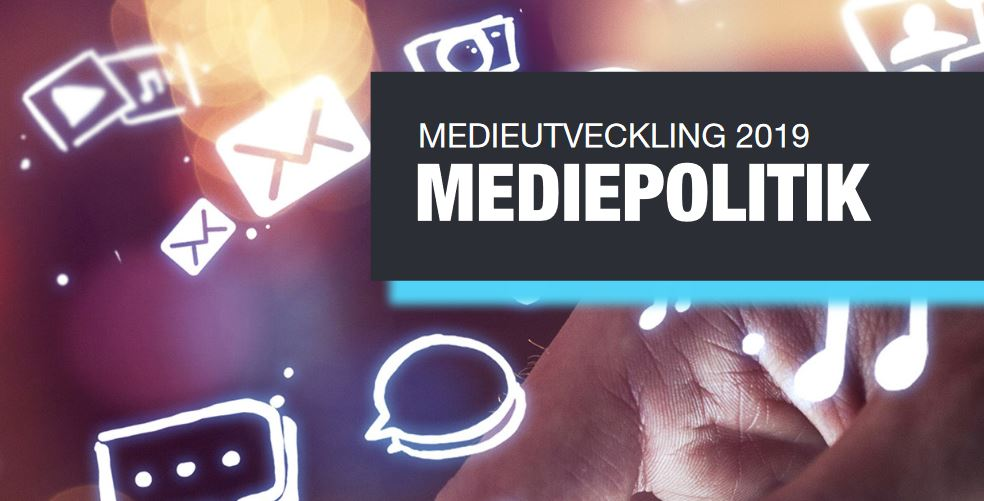 The report Mediepolitik 2019 - part of the cover