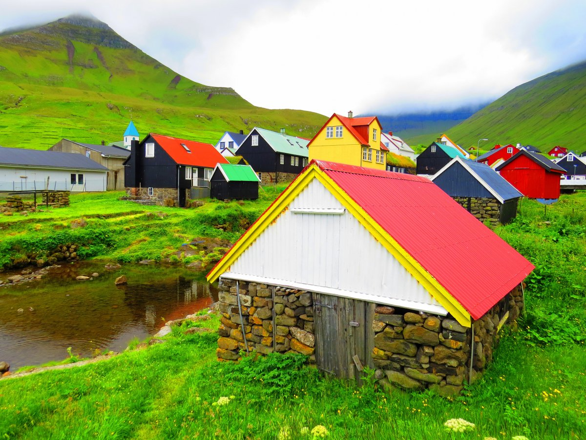 Landscape with houses, Faroe Islands.