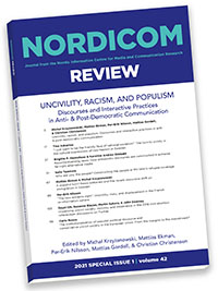 Cover Nordicom Review 42(Special Issue 1) 2021