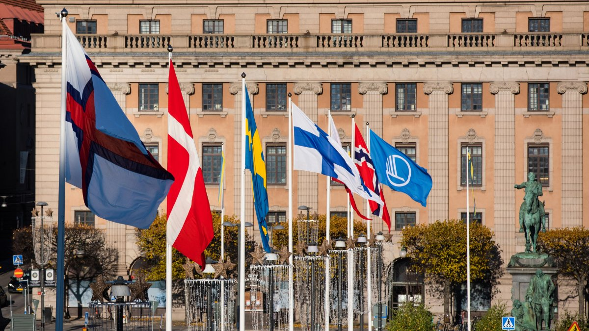 Nordic flags outside the Swedish Parliament House in Stockholm